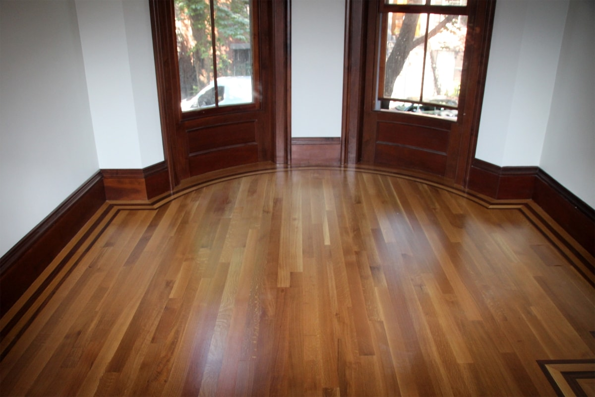 Rift and Quartered White Oak with Custom Walnut Border Medford MA 1-min