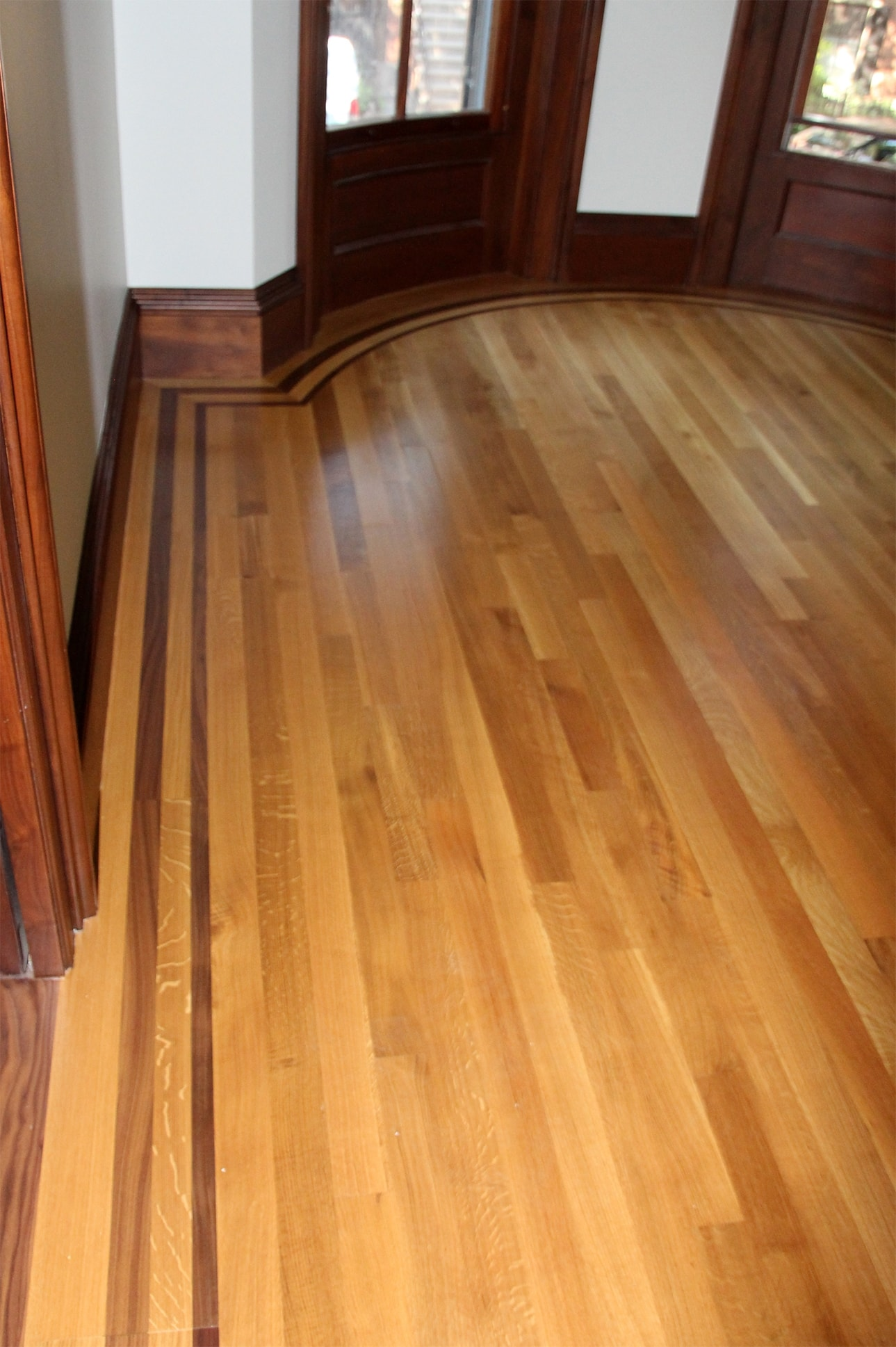 Rift and Quartered White Oak with Custom Walnut Border Medford MA 4-min