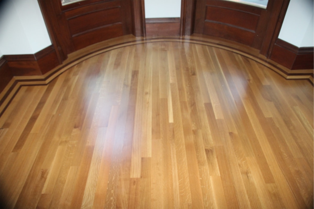 Rift and Quartered White Oak with Custom Walnut Border Medford MA 5-min